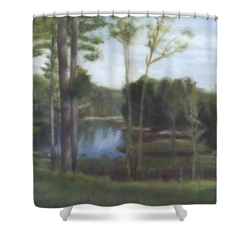 Landscape Shower Curtain featuring the painting Once by Sheila Mashaw