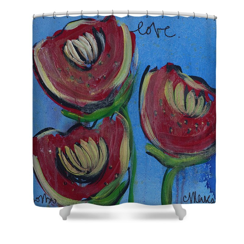 Poppies Shower Curtain featuring the painting Once Upon A Yoga Mat Poppies 2 by Laurie Maves ART