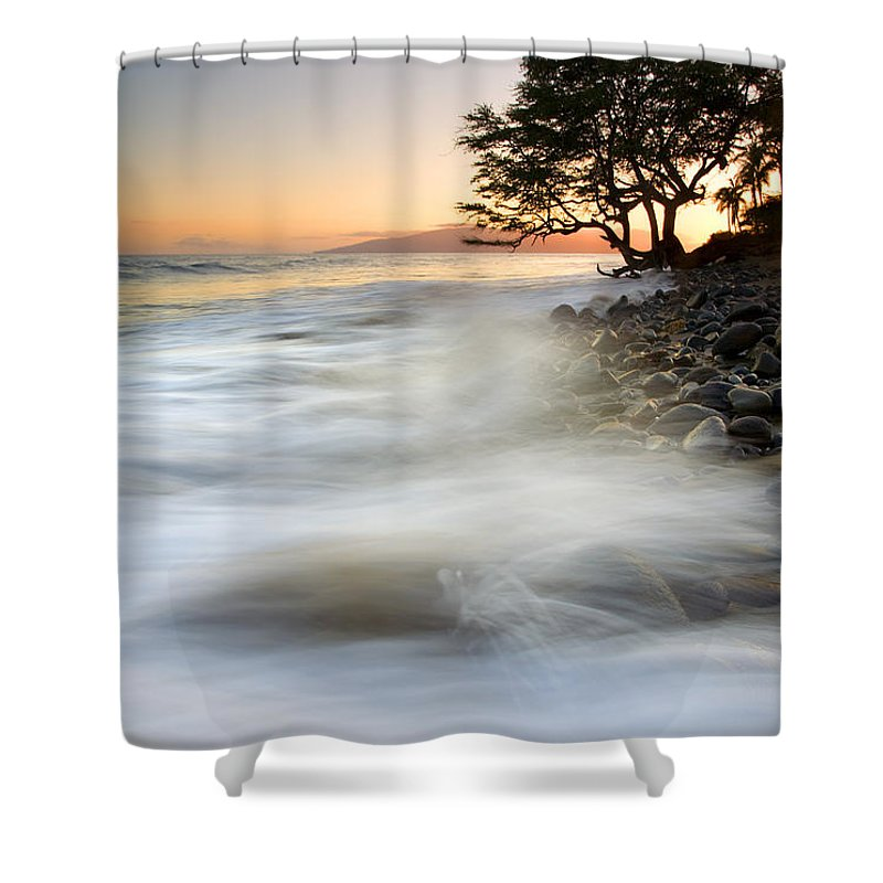 Sunset Shower Curtain featuring the photograph One Against The Tides by Mike Dawson