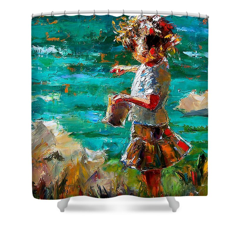 Children Shower Curtain featuring the painting One At A Time by Debra Hurd