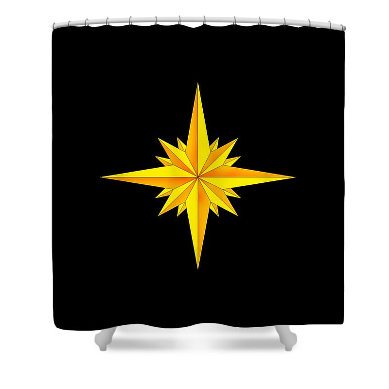 Compass Shower Curtain featuring the painting One Brite And Shining Star by Anne Norskog