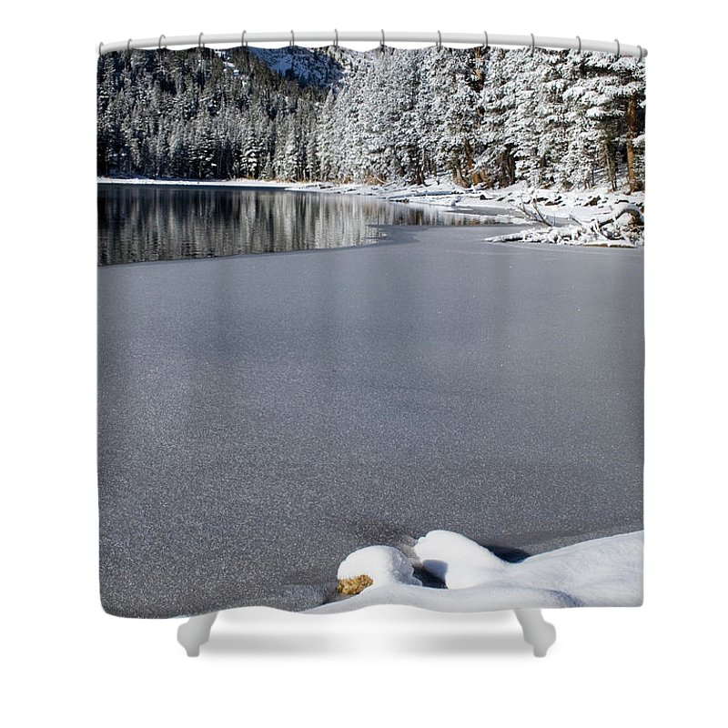 Snow Scene Shower Curtain featuring the photograph One Cool Morning by Chris Brannen