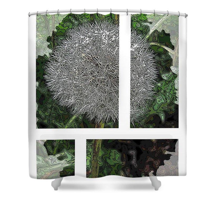 Dandilion Shower Curtain featuring the digital art One Dandy Lion 2 by Tim Allen