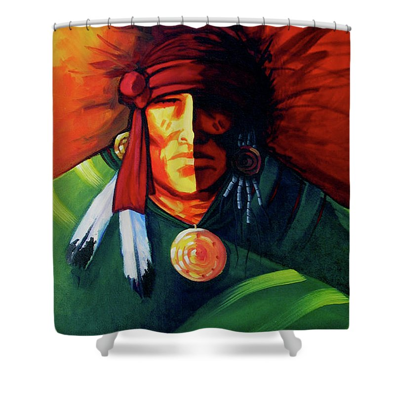 Contemporary Native American Art Shower Curtain featuring the painting One Eye by Lance Headlee