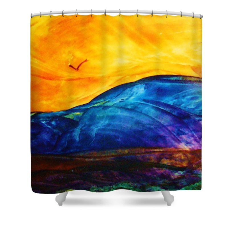 Landscape Shower Curtain featuring the painting One Fine Day by Melinda Etzold