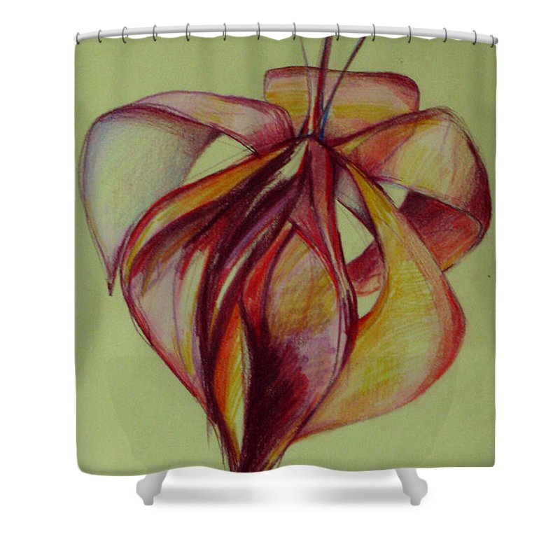 Flower Shower Curtain featuring the painting One Flower by Cristina Rettegi