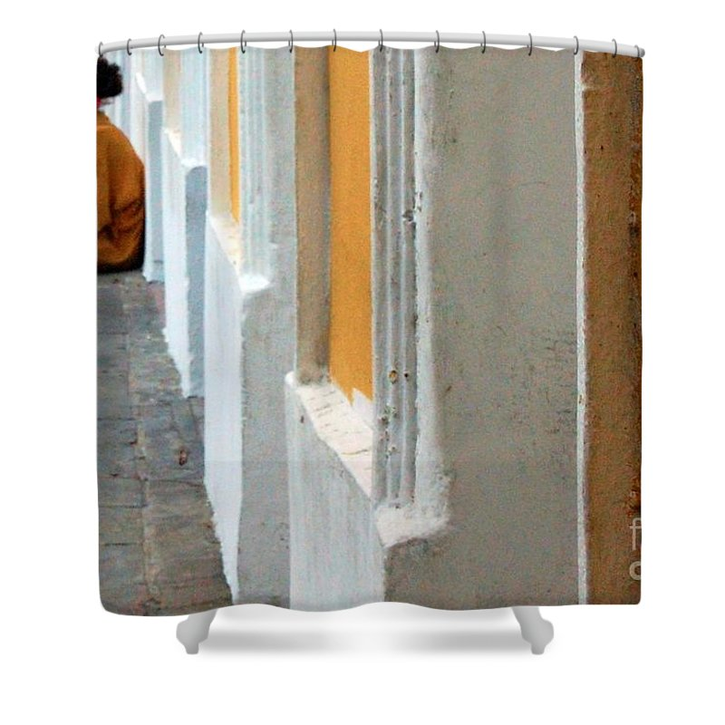 Sidewalk Shower Curtain featuring the photograph One Is The Loneliest Number by Debbi Granruth