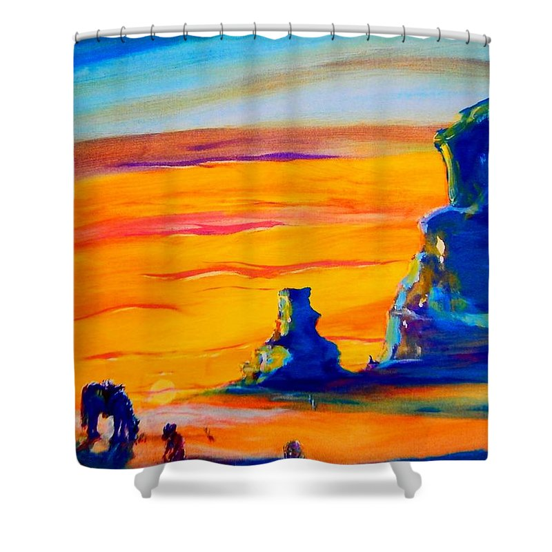 One Shower Curtain featuring the photograph One Lonesome Cowboy by Virginia Kay White