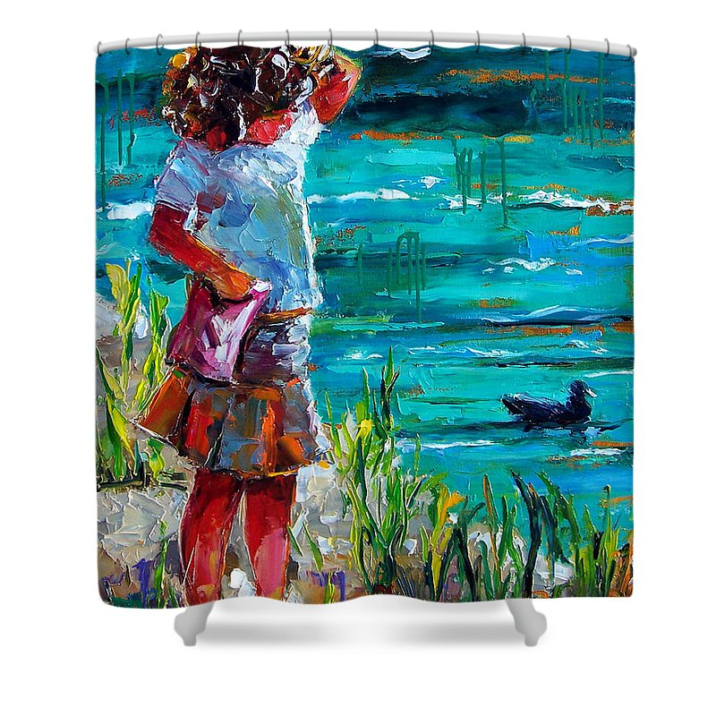 Children Shower Curtain featuring the painting One Lucky Duck by Debra Hurd
