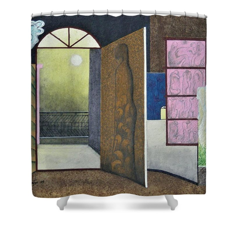 Romantic Shower Curtain featuring the painting One Moonlit Night- J-16 by Raju Bose