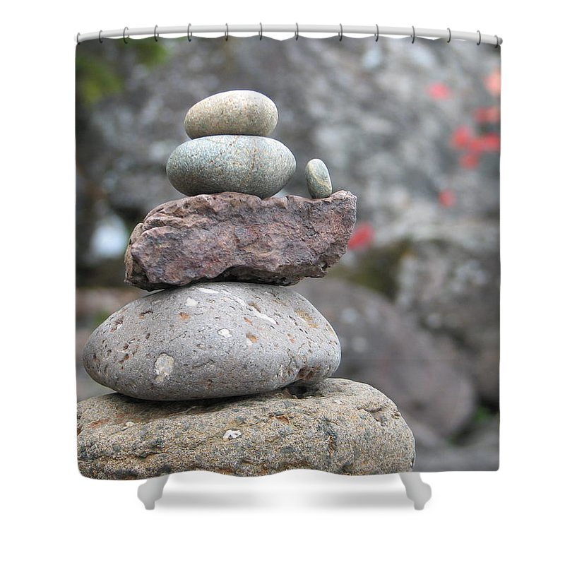 Rocks Shower Curtain featuring the photograph One More by Kelly Mezzapelle
