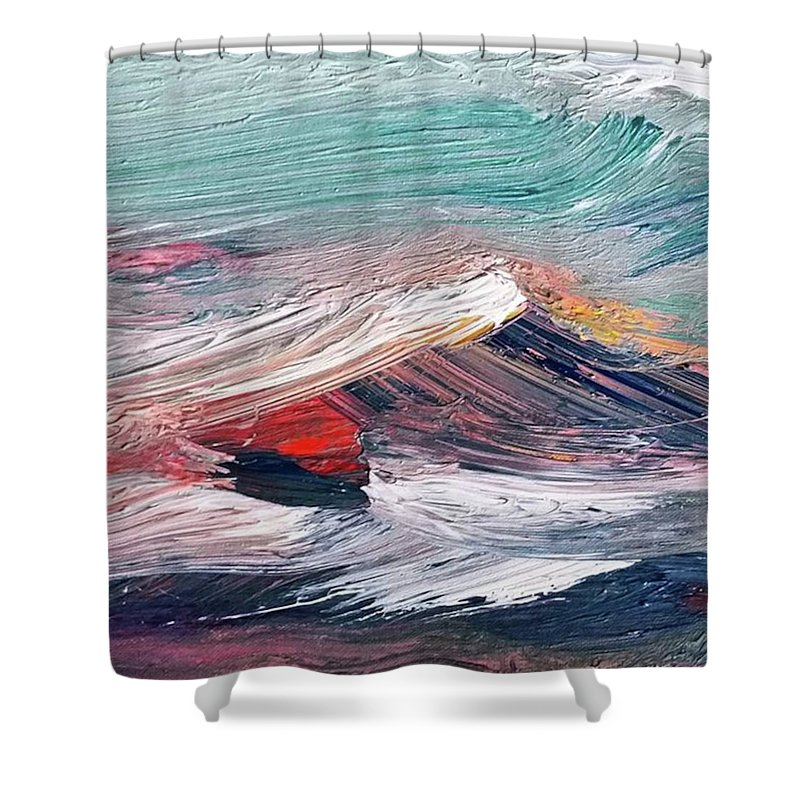 Mountain Shower Curtain featuring the painting Wave Mountain by Christian Ruckerbauer