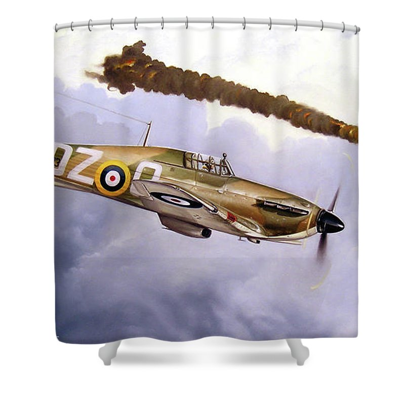 Aviation Art Shower Curtain featuring the painting One Of The Few by Marc Stewart