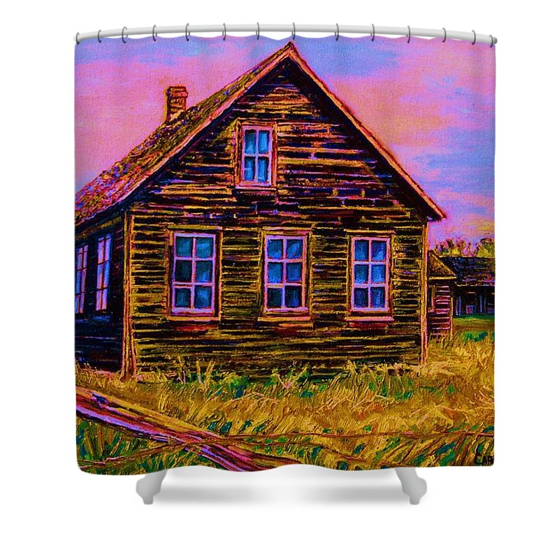 Western Art Shower Curtain featuring the painting One Room Schoolhouse by Carole Spandau