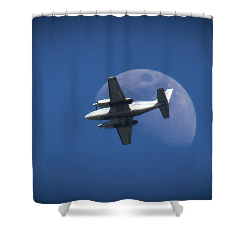 Airplane Moon Shower Curtain featuring the photograph One Small Step For Man by Aaron Berg