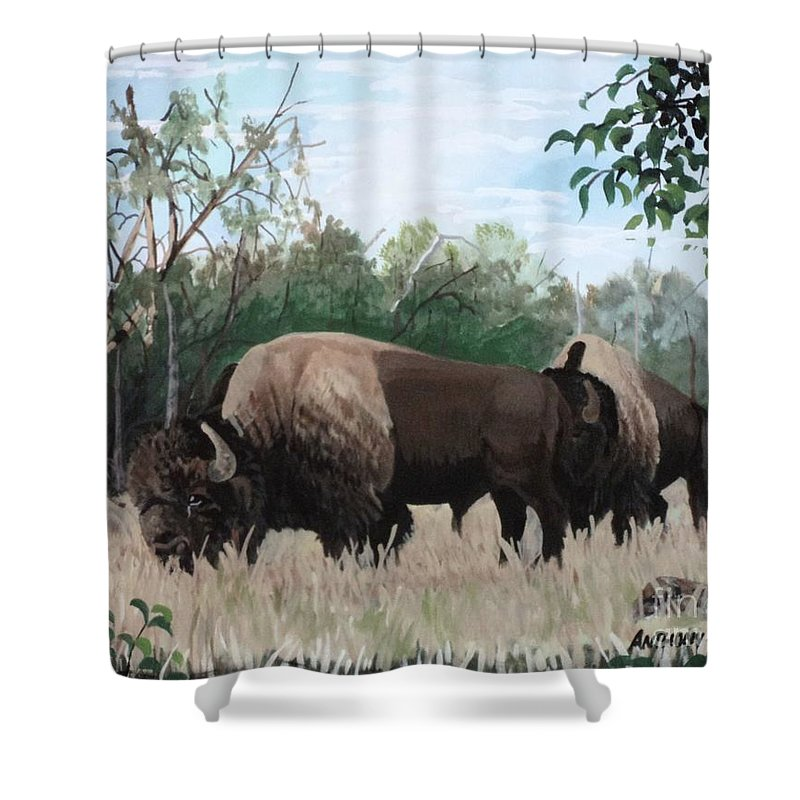 Dead Tree Shower Curtain featuring the painting One Summer Day by Anthony Bear