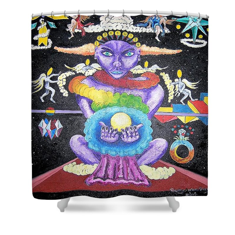 Oil Shower Curtain featuring the painting One Thru Nine by Timothy Michael Foley