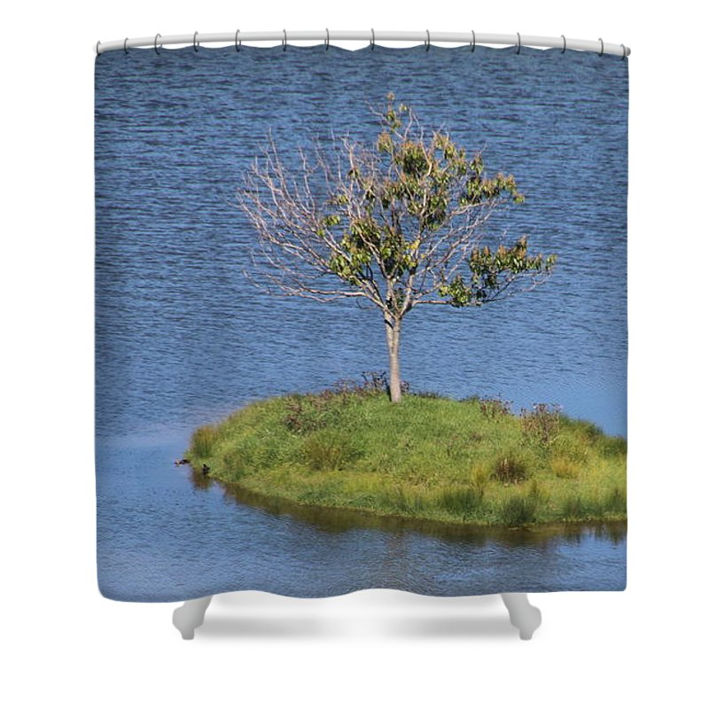Landscape Shower Curtain featuring the photograph One Tree Island by Mikhael van Aken
