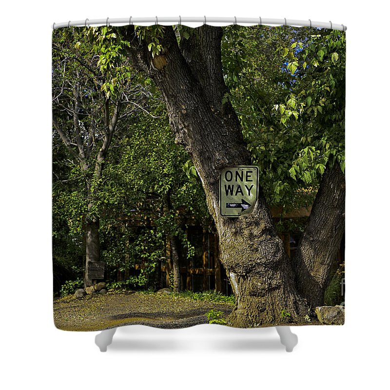 Sign Shower Curtain featuring the photograph One Way by Madeline Ellis