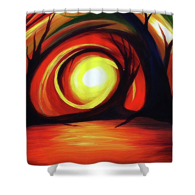 Abstract Shower Curtain featuring the painting One With Nature by Angel Reyes