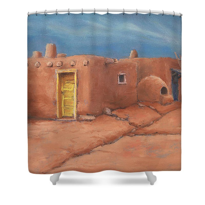Taos Shower Curtain featuring the painting One Yellow Door by Jerry McElroy