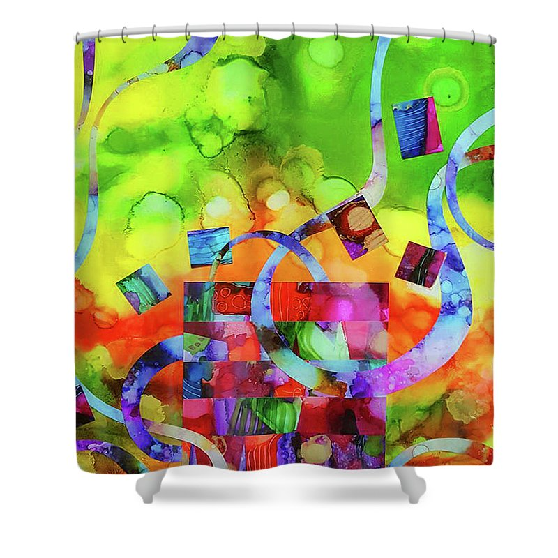 Alcohol Ink Shower Curtain featuring the mixed media Ones Who Flew Away by Kate Word