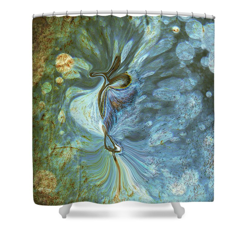 Abstract Shower Curtain featuring the digital art Onward by Linda Sannuti