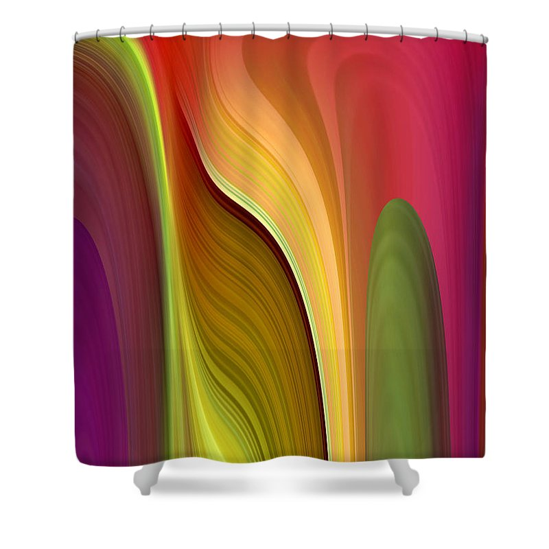 Abstract Shower Curtain featuring the digital art Oomph by Ruth Palmer