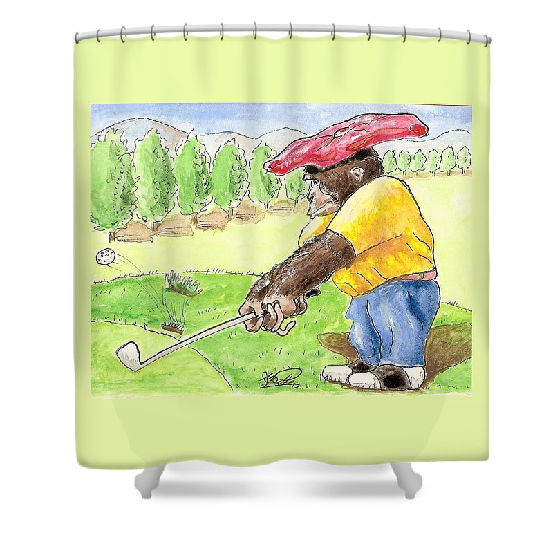 Golf Shower Curtain featuring the painting Oops by George I Perez