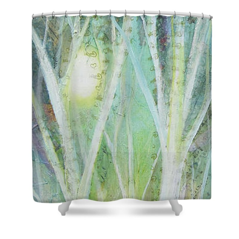 Trees Shower Curtain featuring the painting Opalescent Twilight I by Shadia Derbyshire