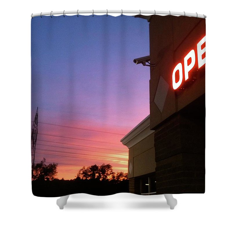 Open Shower Curtain featuring the photograph Open Late by Trish Hale