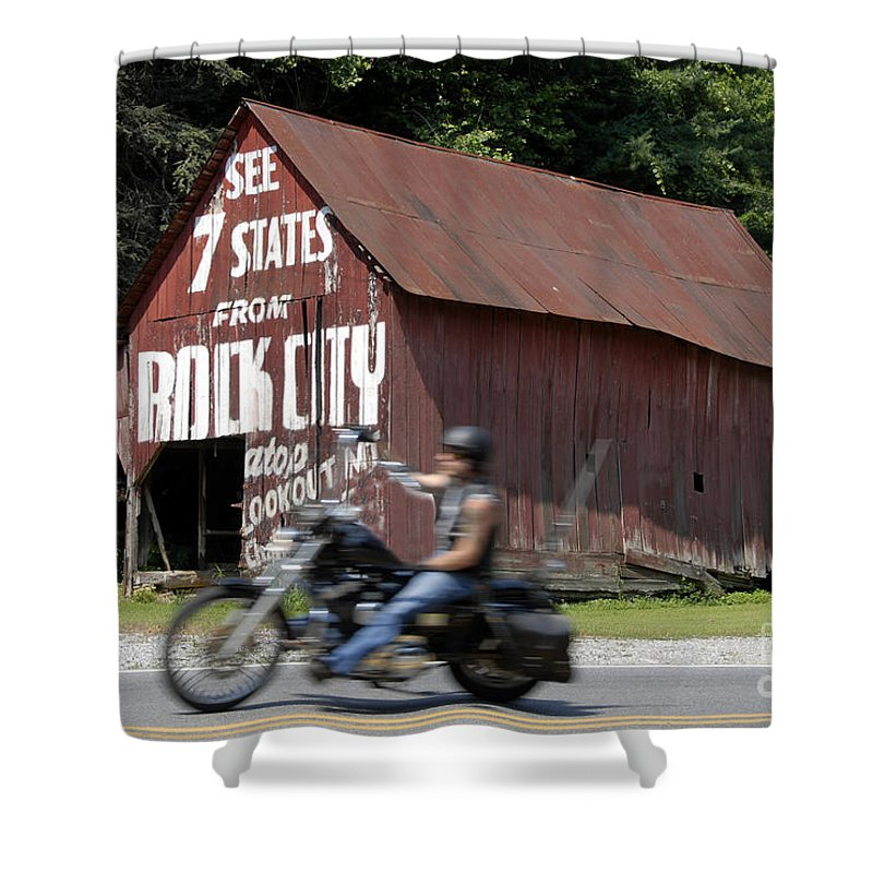 Motorcycle Shower Curtain featuring the photograph Open Road by David Lee Thompson
