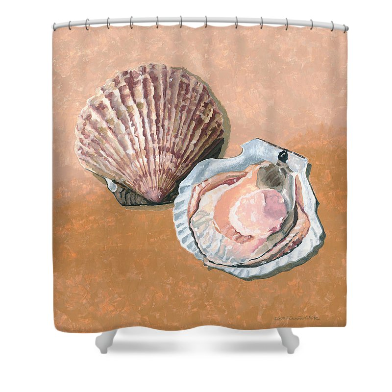 Scallop Shower Curtain featuring the painting Open Scallop by Dominic White