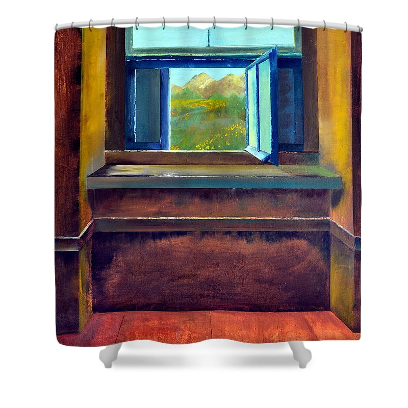 Trompe L'oeil Shower Curtain featuring the painting Open Window by Michelle Calkins