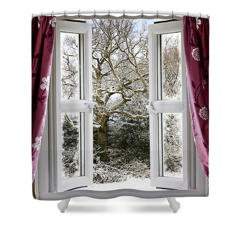 Window Shower Curtain featuring the photograph Open Window With Winter Scene by Simon Bratt Photography LRPS