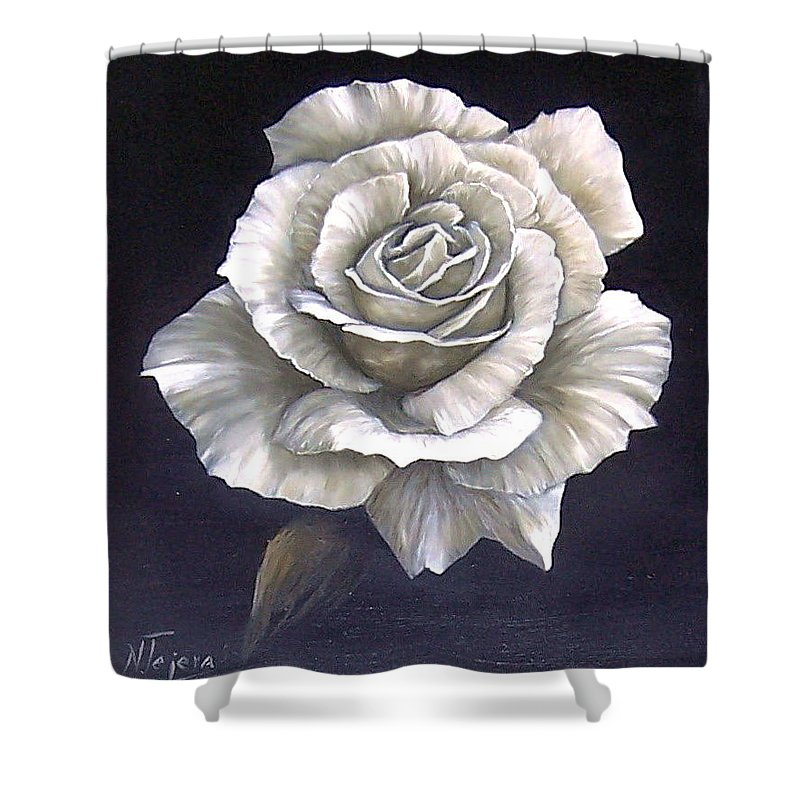 Rose Flower Shower Curtain featuring the painting Opened Rose by Natalia Tejera