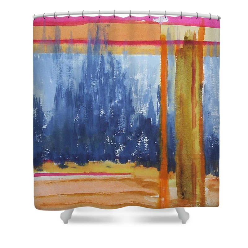 Landscape Shower Curtain featuring the painting Opening by Suzanne Udell Levinger