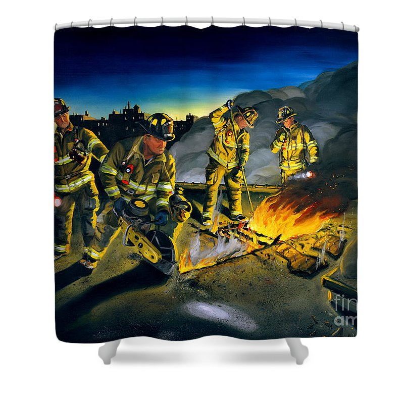 Firefighters In Action Shower Curtain featuring the painting Opening Up by Paul Walsh