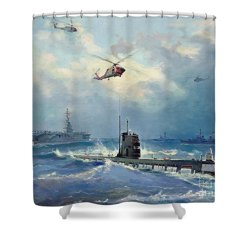 Operation Shower Curtain featuring the painting Operation Kama by Valentin Alexandrovich Pechatin