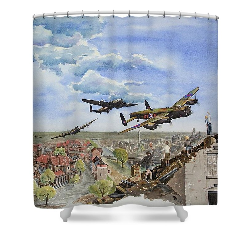 Lancaster Bomber Shower Curtain featuring the painting Operation Manna I by Gale Cochran-Smith