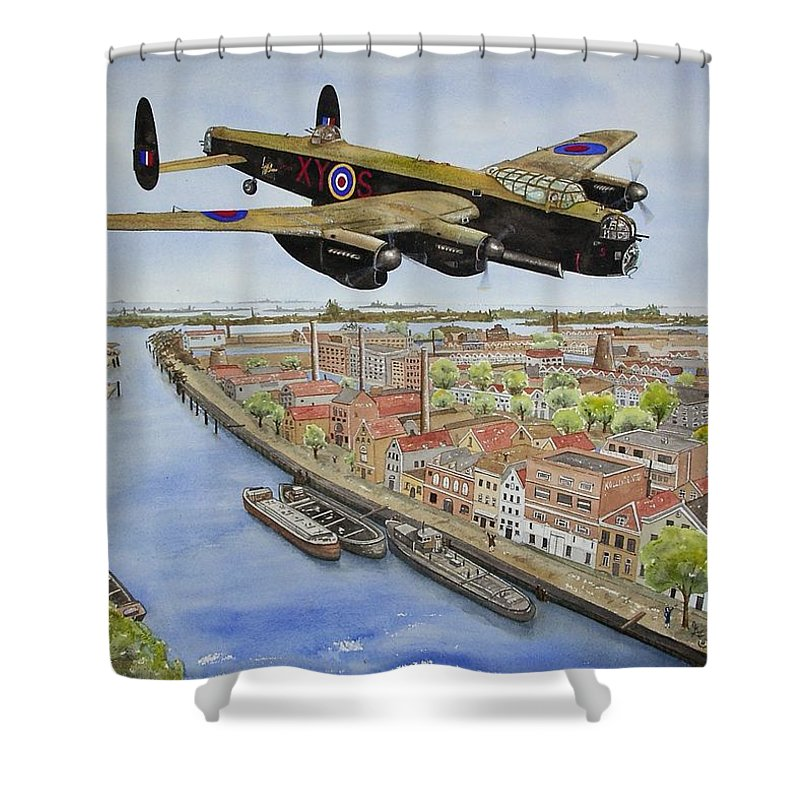 Lancaster Bomber Shower Curtain featuring the painting Operation Manna II by Gale Cochran-Smith