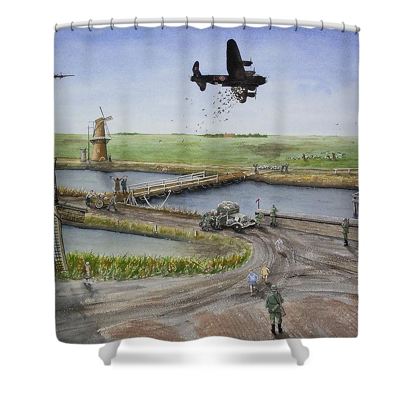 Lancaster Bomber Shower Curtain featuring the painting Operation Manna IIi by Gale Cochran-Smith
