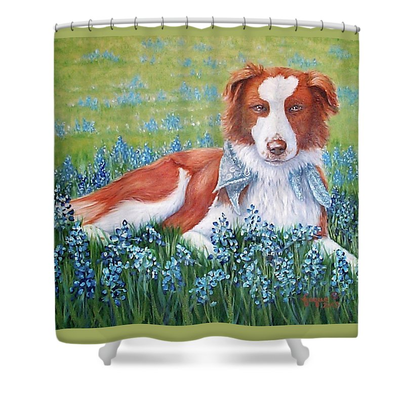 Fuqua Gallery-bev-artwork Shower Curtain featuring the painting Opie by Beverly Fuqua