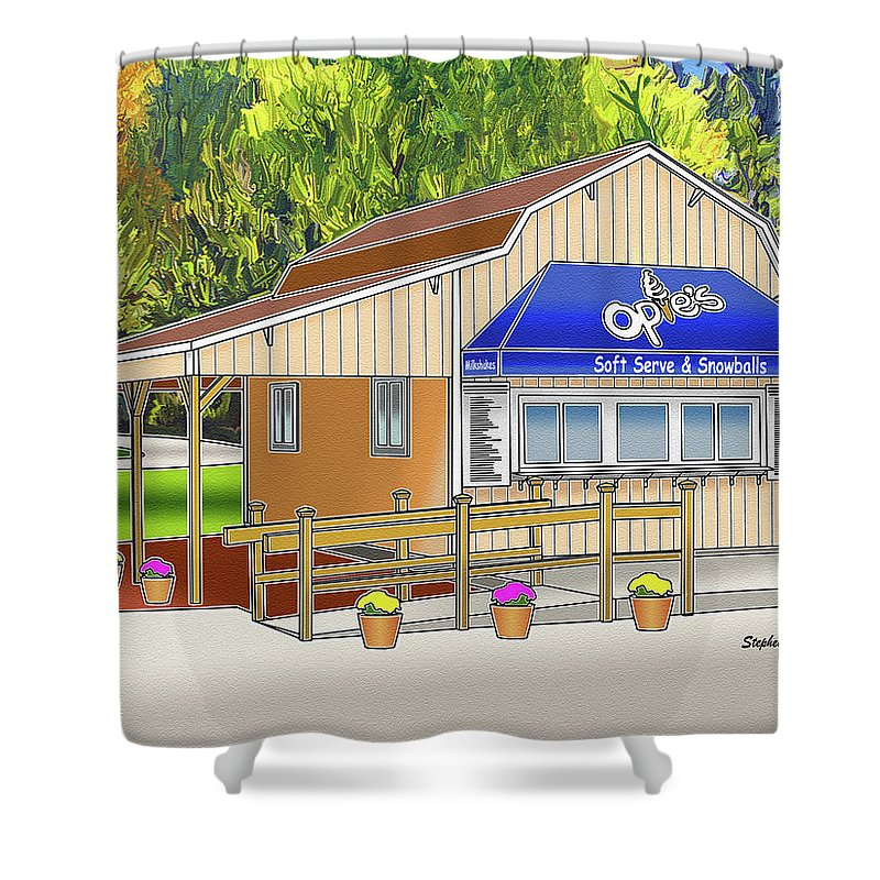 Catonsville Shower Curtain featuring the digital art Opie's Snowball Stand by Stephen Younts
