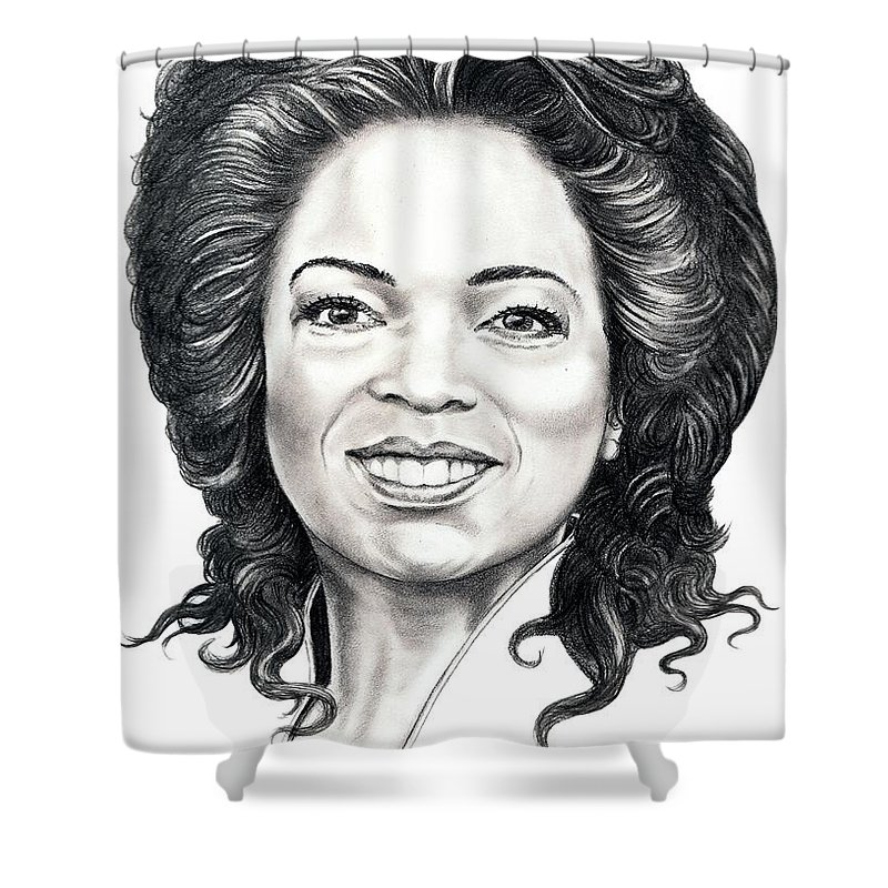 Oprah Shower Curtain featuring the drawing Oprah Winfrey by Murphy Elliott