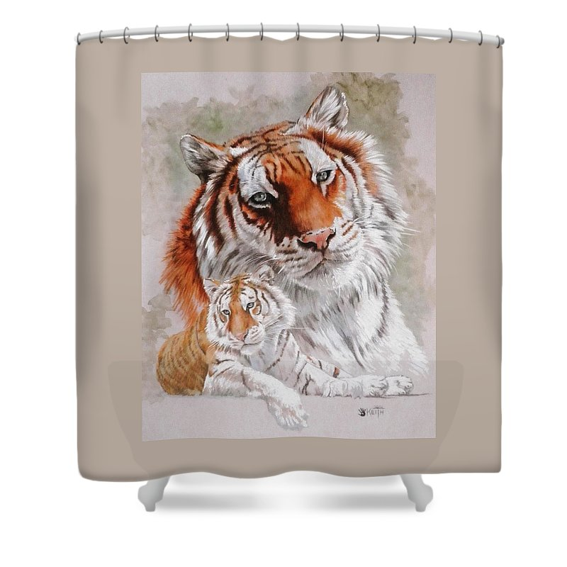 Wildcat Shower Curtain featuring the mixed media Opulent by Barbara Keith