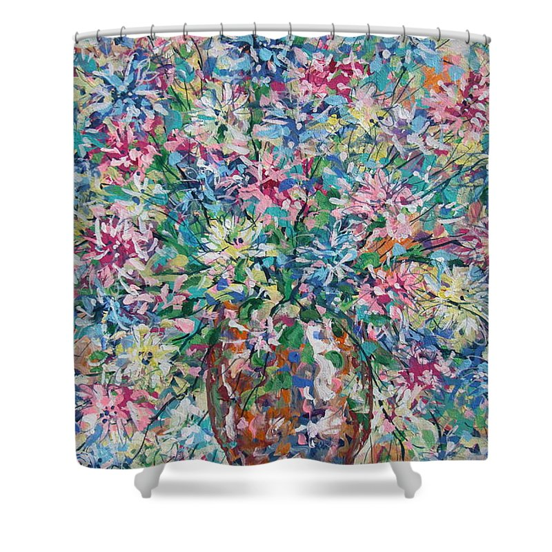 Painting Shower Curtain featuring the painting Opulent Bouquet. by Leonard Holland