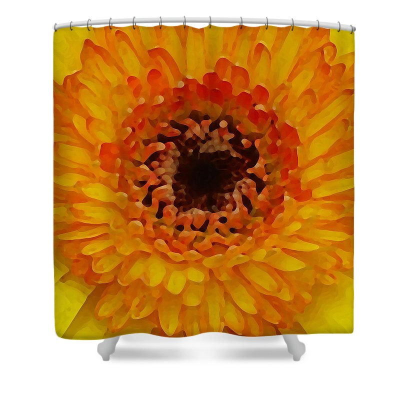 Daisy Shower Curtain featuring the painting Orange And Black Gerber Center by Amy Vangsgard