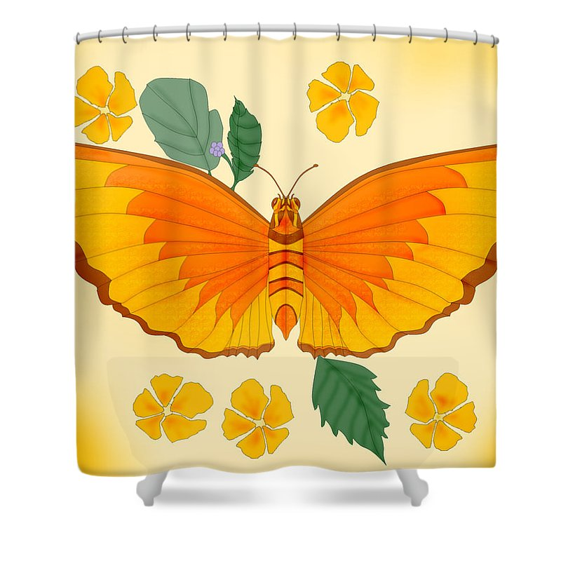 Butterfly Shower Curtain featuring the painting Orange Beauty by Anne Norskog