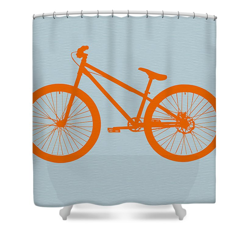Bicycle Shower Curtain Featuring The Digital Art Orange By Naxart Studio
